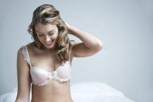 Blond Model in Pink Bra