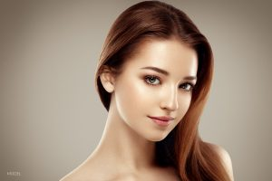 Close Up of Young Brunette Model's Face